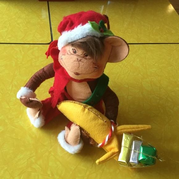Annalee Christmas Monkey Felt Figure